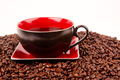 Cup of Coffee in Pile of Coffee BEans - PhotoDune Item for Sale