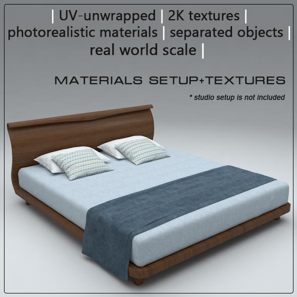 Modern bed Cinema 4D - 3DOcean Item for Sale
