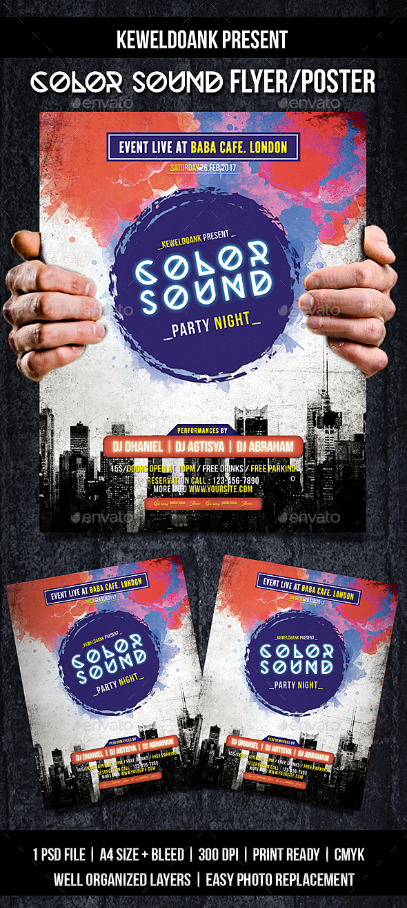 Color Sound Flyer / Poster - Events Flyers