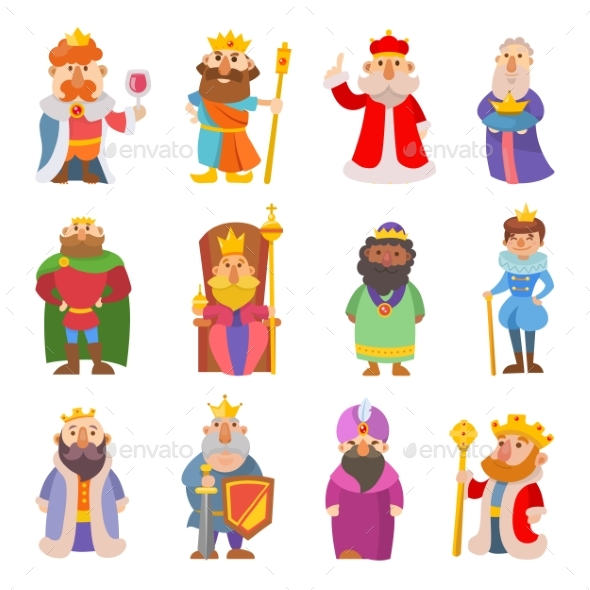 Different Cartoon Kings Characters Set - People Characters