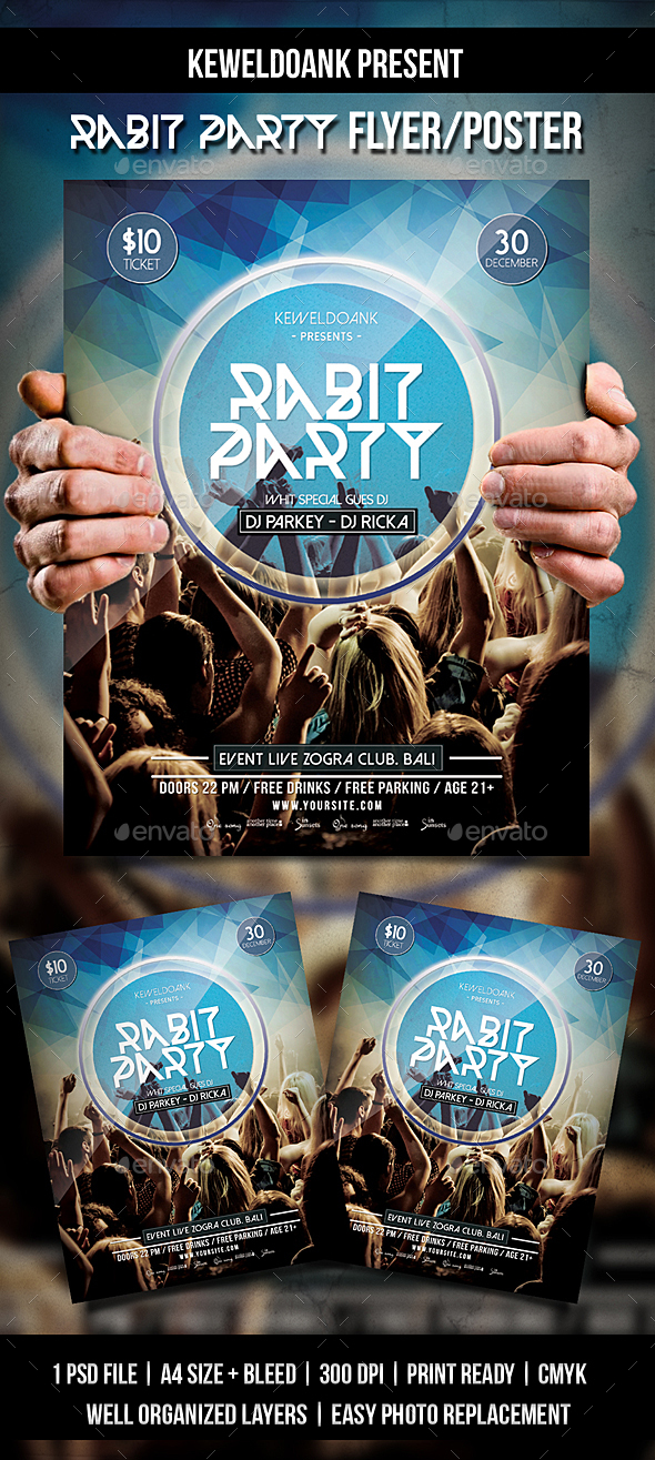 Rabit Party Flyer / Poster - Clubs & Parties Events