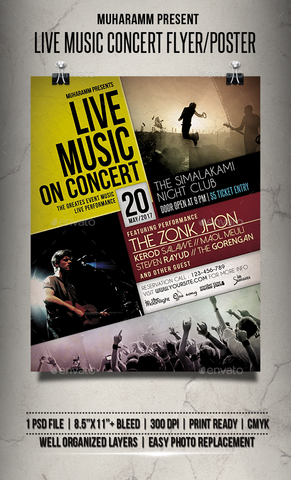 Live Music Concert Flyer  Poster By Muharamm  Graphicriver