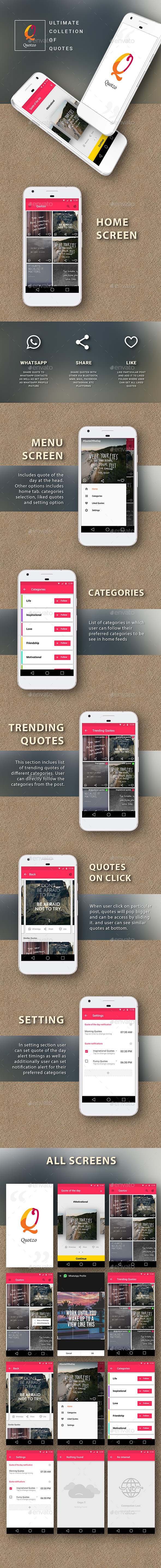 Quotes App  |  Quotzo - Android Material Design App UI Set - User Interfaces Web Elements