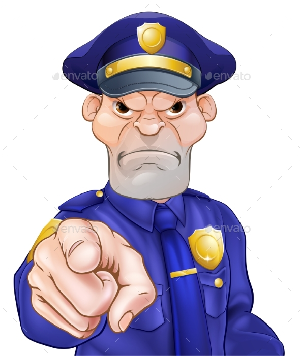 Angry Pointing Police Officer - People Characters