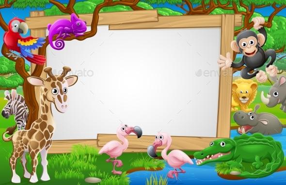 Cartoon Safari Animals Sign - Animals Characters