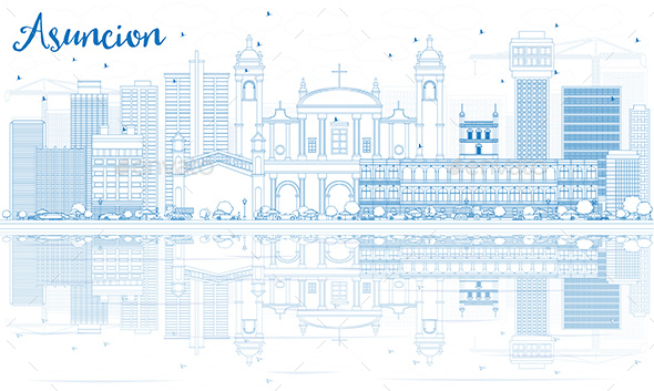 Outline Asuncion Skyline with Blue Buildings and Reflections - Buildings Objects