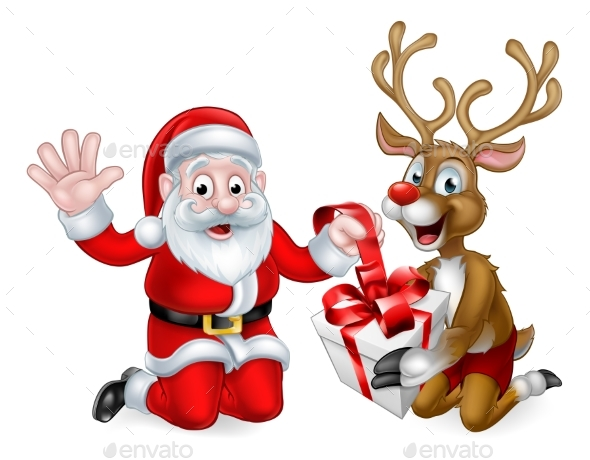 Santa and Reindeer with Christmas Gift - Christmas Seasons/Holidays