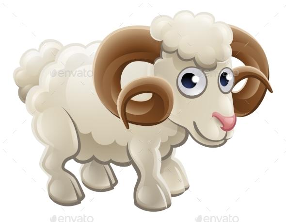 Cartoon Ram Farm Animal - Animals Characters