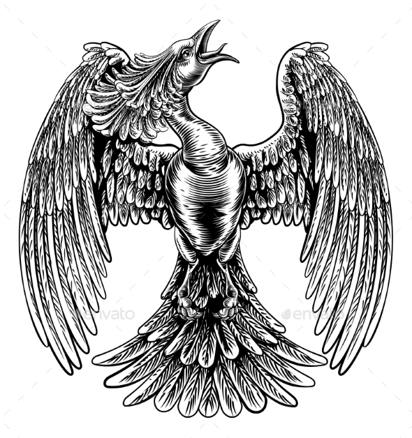 Phoenix Fire Bird in Vintage Woodcut Style - Animals Characters