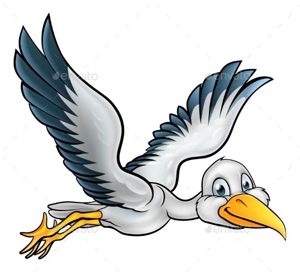 Cartoon Stork Bird - Animals Characters