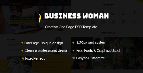 Business Woman– Creative One Page PSD Template.