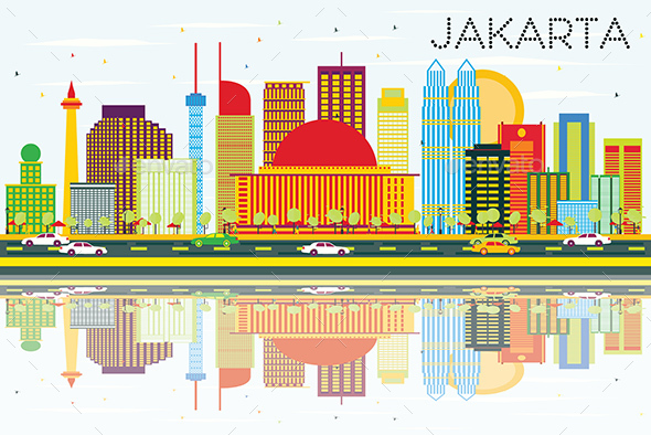 Jakarta Skyline with Color Buildings, Blue Sky and Reflections - Buildings Objects