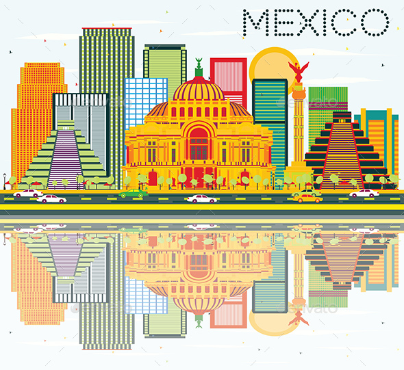 Mexico Skyline with Color Buildings, Blue Sky and Reflections - Buildings Objects