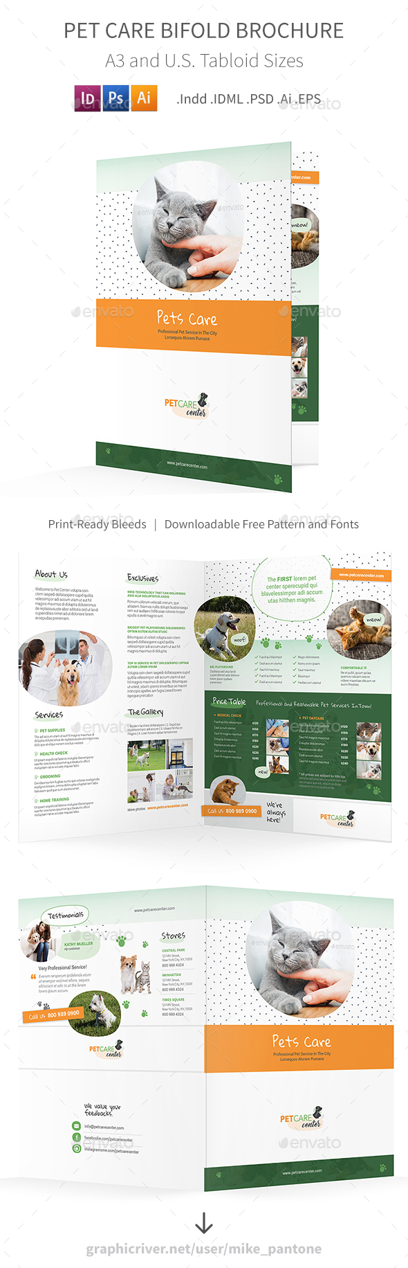 Pet Care Bifold / Halffold Brochure 6 - Informational Brochures