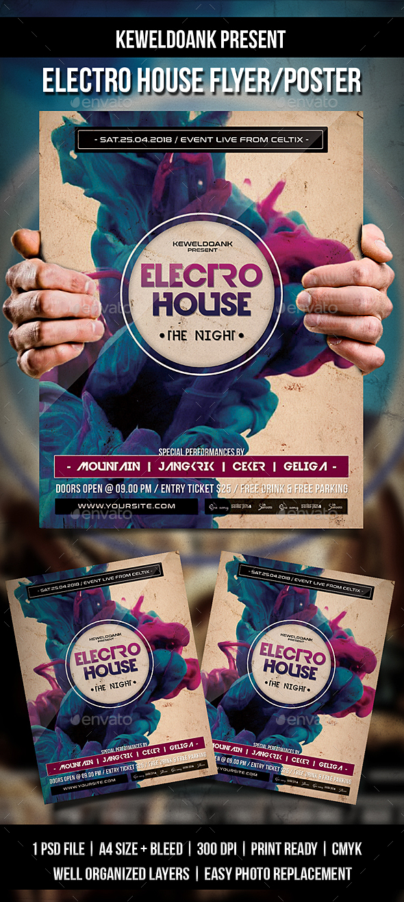 Electro House Flyer / Poster - Events Flyers