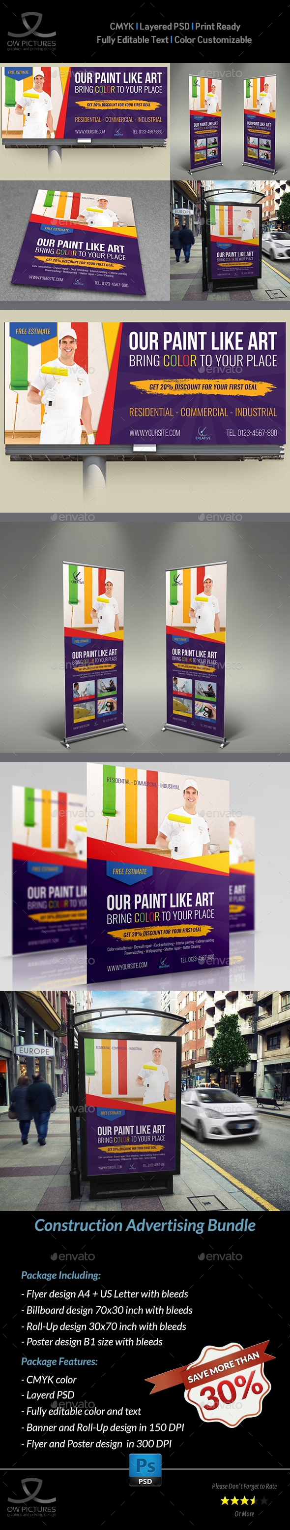 Painter Advertising Bundle - Signage Print Templates