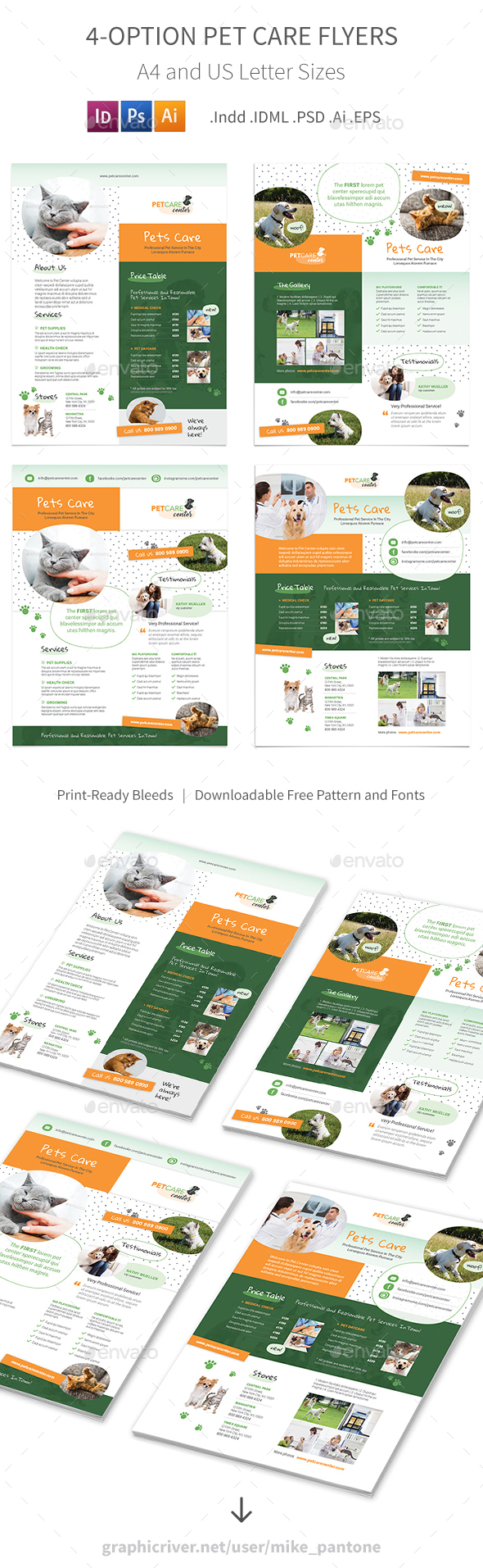 Pet Care Flyers 6 – 4 Options - Corporate Flyers