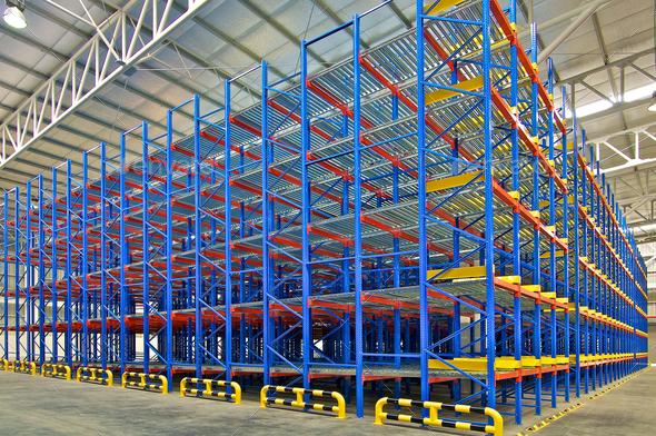 Warehouse storage shelving racking systems - Stock Photo - Images