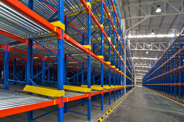 Storage shelf in warehouse distribution center - Stock Photo - Images