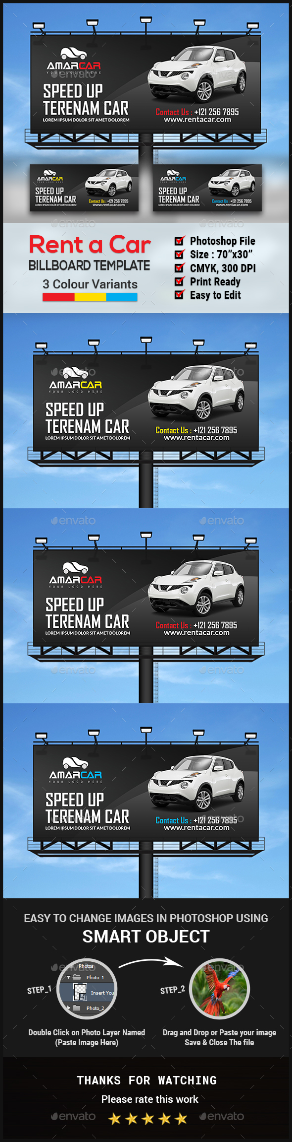 Rent a Car Billboard - Signage Print Templates