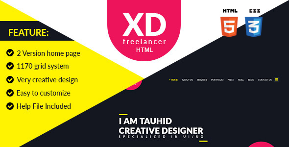 XD Freelancer- Personal/Agency Portfolio One Page HTML Template
