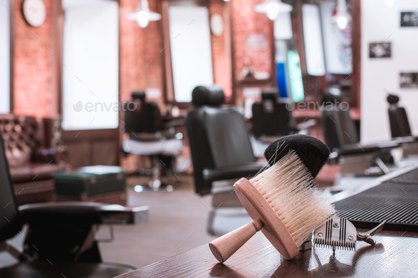 Barber shop equipment on wooden background. - Stock Photo - Images