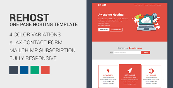 Rehost – Onepage Hosting Template