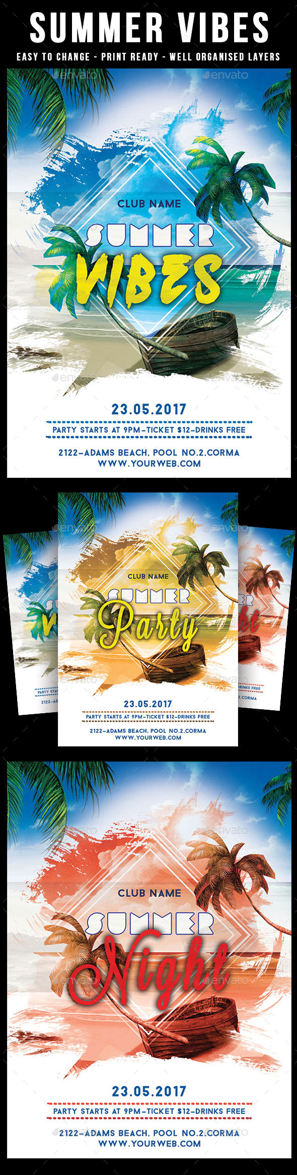 Summer Vibes Party Flyer - Events Flyers