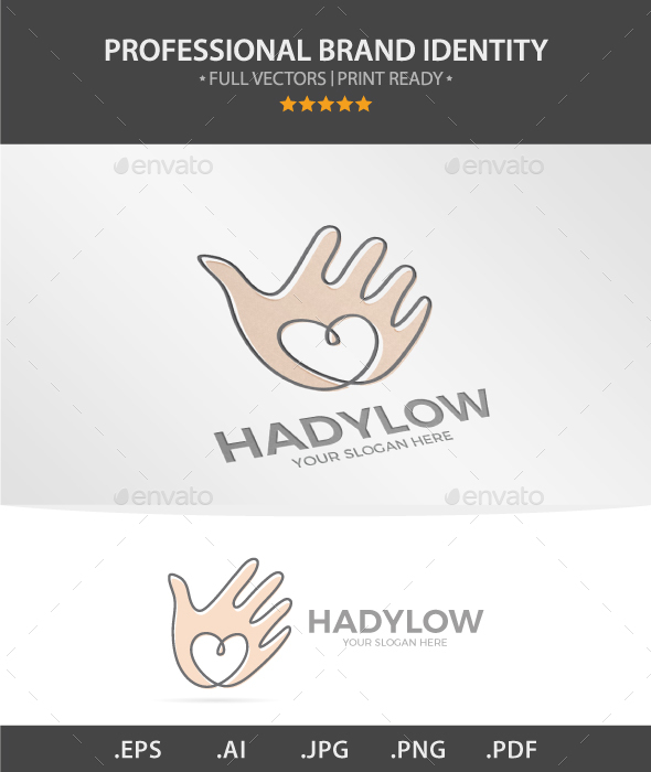 Vector Hand With Heart Logo Design. - Humans Logo Templates