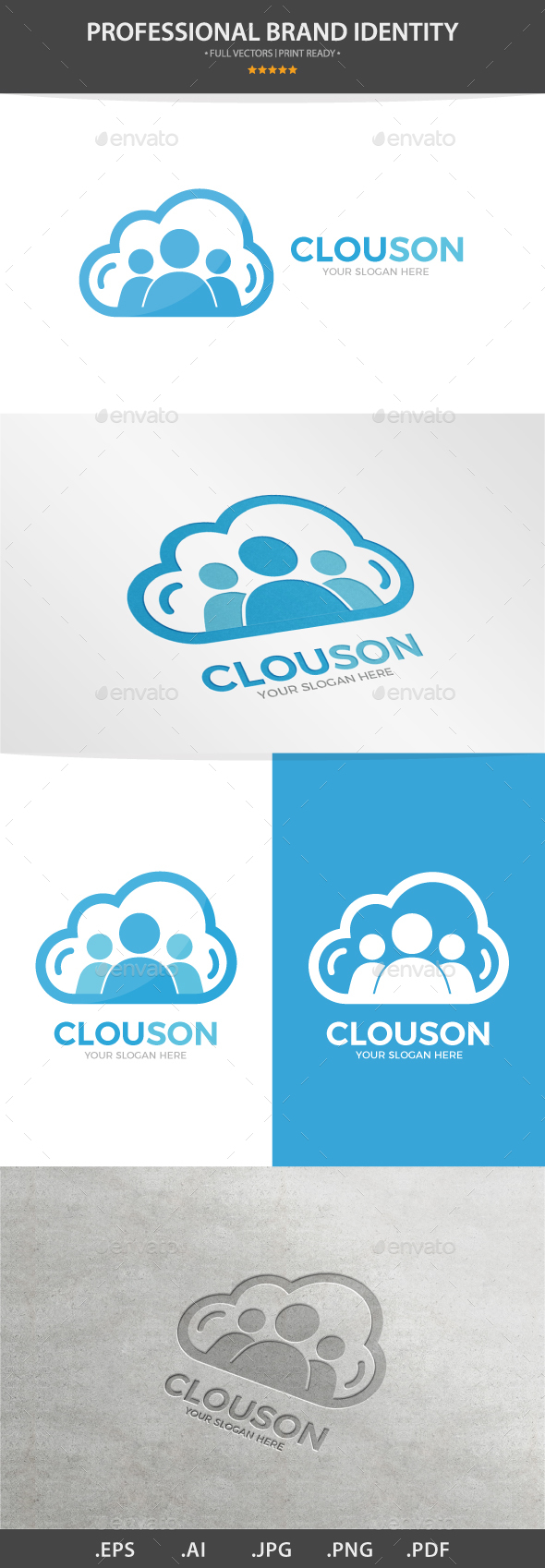 Vector Logo Combination Of a Cloud And People - Humans Logo Templates
