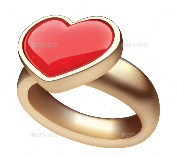 Golden Ring with Heart - Valentines Seasons/Holidays