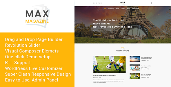 ThemeForest Max Magazine News & Blog WordPress Theme 19956093