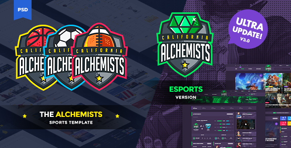 The Alchemists - Sports News PSD Template V3.0 + eSports & Gaming