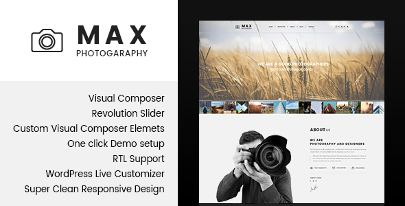 ThemeForest Max Photograpy WordPress Theme for Photographers 19956304