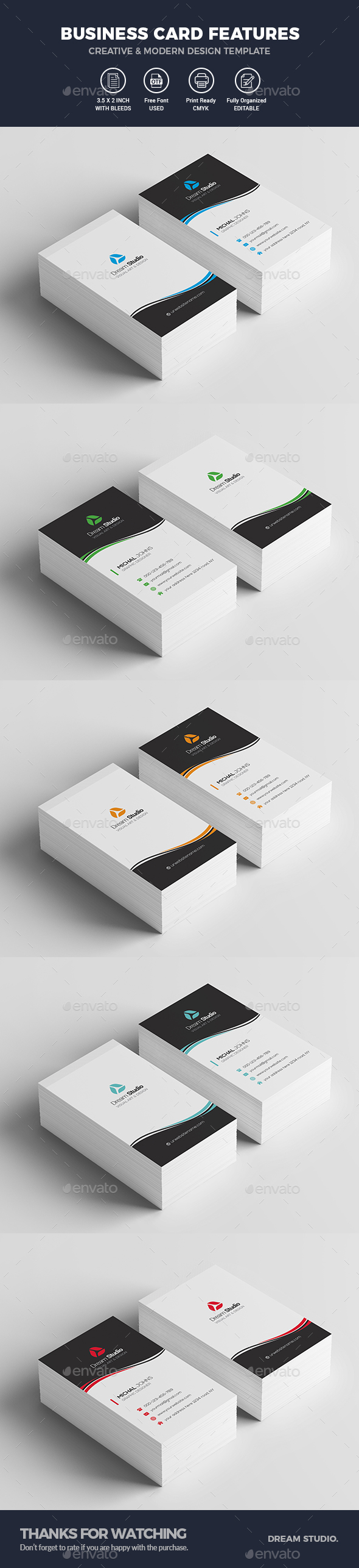 Vertical Business Cards - Business Cards Print Templates