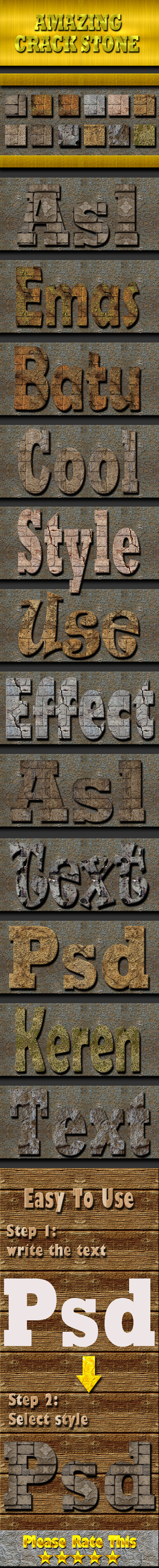 Cracked Stone Text Effect Style - Styles Photoshop