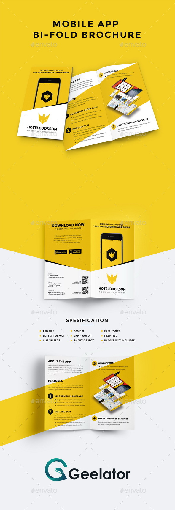 Mobile App Bi-fold Brochure - Corporate Brochures