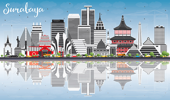 Surabaya Skyline with Gray Buildings, Blue Sky and Reflections. - Buildings Objects
