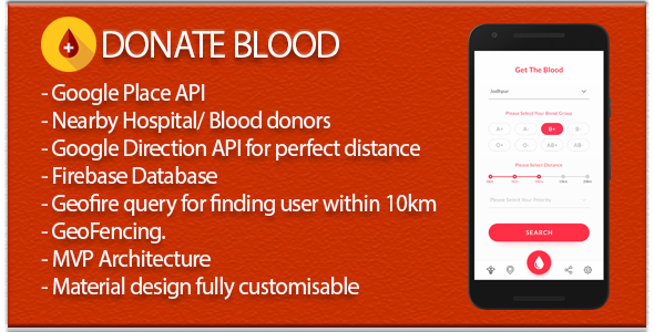 Blood Donate (Material Design + Firebase DB+Auth+Social Sharing+Place API) - CodeCanyon Item for Sale