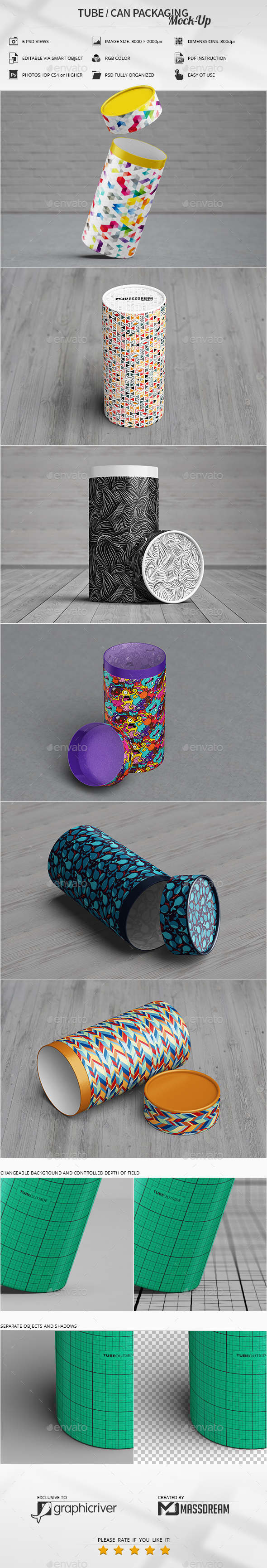 Tube / Can Packaging Mock-Up - Miscellaneous Packaging