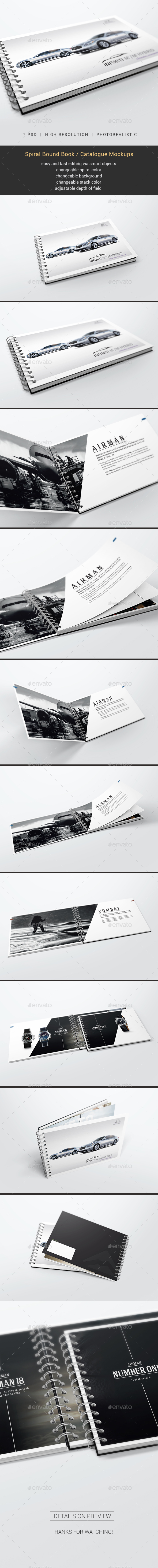 Spiral Bound Book / Catalogue Mockups - Books Print