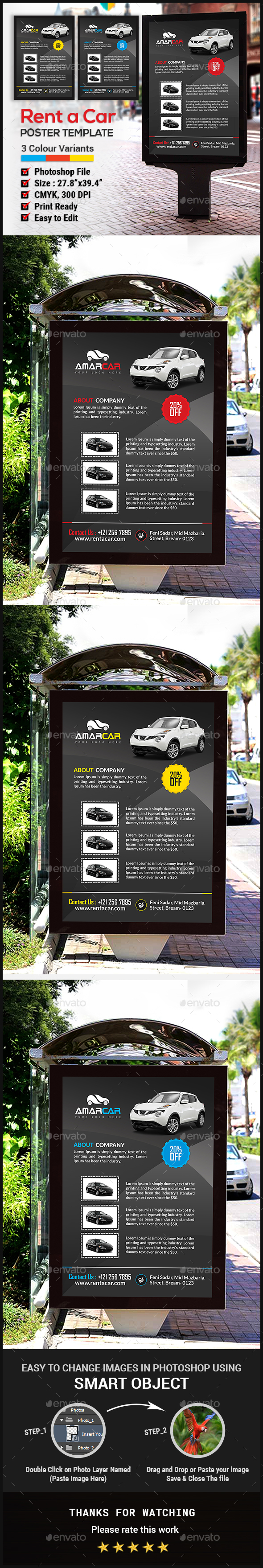 Rent a Car Poster - Signage Print Templates