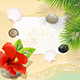 Tropical Beach with Red Hibiscus - GraphicRiver Item for Sale