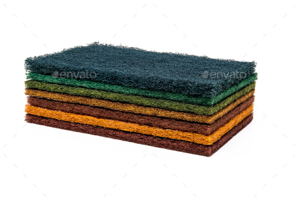 Household cleaning sponge for cleaning dished - Stock Photo - Images
