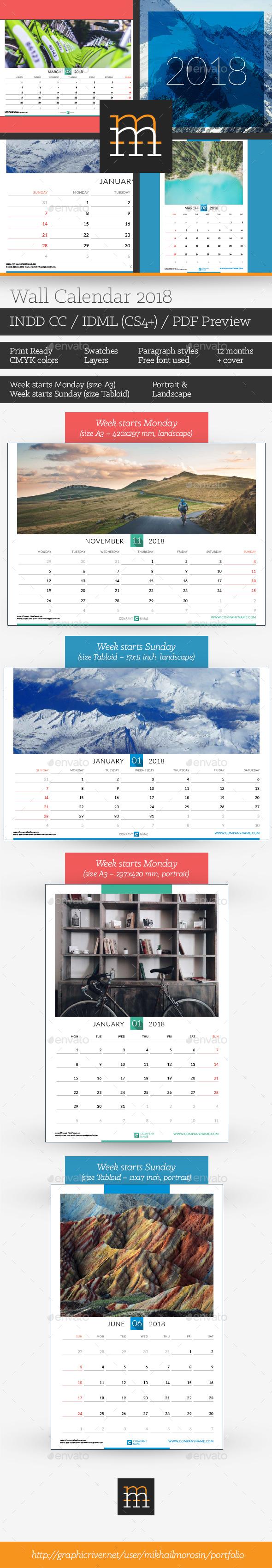 Wall Calendar 2018 - Calendars Stationery