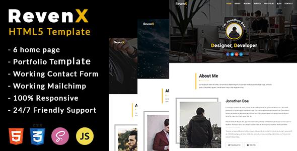 RevenX - Personal Portfolio Template - Personal Site Templates