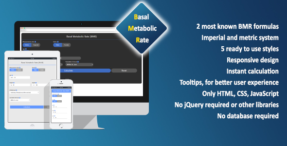 Basal Metabolic Rate (BMR) Calculator - CodeCanyon Item for Sale