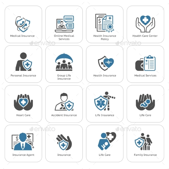 Insurance and Medical Services Icons Set - Technology Icons