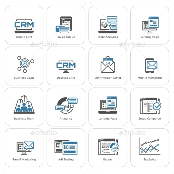 Set of Business and Marketing Flat Icons - Technology Icons