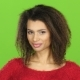 Afro American Woman Flirts and Winks at Eye, Green Screen